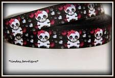 "1 YD 7/8"" MONSTER HIGH SKULLS WITH BOWS & BONES CRAFTS HAIRBOW GROSGRAIN RIBBON"
