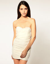 BNWT Rare Topshop ASOS Sexy Cream Ruched Stretch Bodycon Strapless Dress Size 12