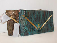 Jennifer Lopez Rochelle Snakeskin Clutch Brown Blue Peacock purse handbag New