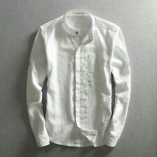 Men Solid Cotton Linen Shirt Chinese Mandarin Collar Business Dress Shirts TS310
