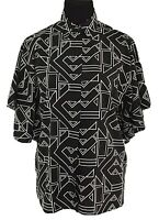 Lauren Ralph Lauren Bell Sleeve Geomtric Print Collared Blouse Black/White Sz S