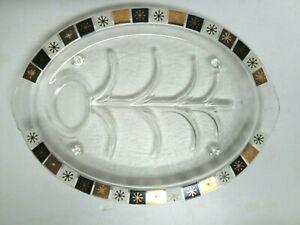 Vintage Garland Glass Retro Modern Black & Gold Footed Serving Platter