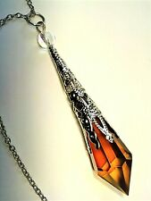 Crystal Pendant Necklace Amber Crystal Prism Point Pendulum Necklace Handmade