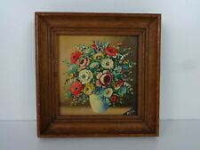 Original Oil Painting Norman Henry French Miniature Floral Bouquet Impressionist