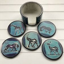 African Safari Set of 5 Blue Soapstone Coasters in Holder Handcrafted Smooth