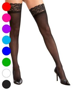 Stay Up Silicone Lace Top Thigh High Stockings - Dreamgirl 7030