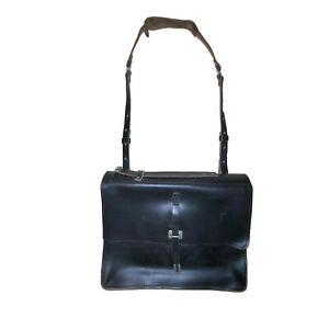 Billy Kirk Black Milled Genuine Leather Schoolboy Satchel Bag #236 Made in USA