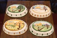 VINTAGE SET OF 4 SEASONS ON THE FARM KITCHEN CERAMIC MOLD WALL HANGING