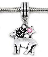Zodiac Aries Ram Pink Rhinestone Horoscope Dangle Charm for European Bracelets