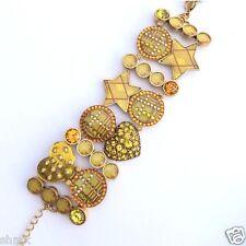 Pilgrim Jewelry Bracelet Swarovski Crystal Wide Heart Enamel Adjustable