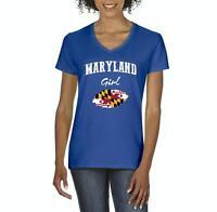 Maryland Girl  Women V-Neck T-Shirt