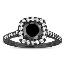Enhanced Black Diamond Engagement Ring 1.60 Carat 18K Black Gold Halo Cushion