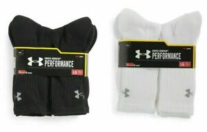 NEW Under Armour Performance HeatGear Crew Socks 3 OR 6 Pairs Mens Size 9-12.5