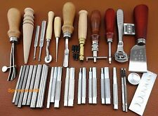 35pcs Leather Craft Sewing Tool Set Kit Stitching Groover Creaser Punch Beveler