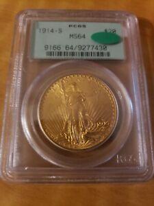 1914-S $20 GOLD ST. GAUDENS Double Eagle PCGS OGH MS-64 SAINT MS64 CAC !!!!!!