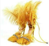 Runway Women's Sandals Shoes Rhinestones Feather Stilettos Heel Open Toe Pumps
