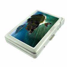 Fiji Islands D3 Cigarette Case with Built in Lighter Metal Wallet Tropical