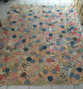 Vtg Quilt FeedSack Handmade Antique 82 x 68 colorful