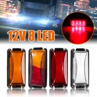 12V 24V 8 LED Truck Boat BUS Trailer Side Marker Indicators Light Lamp Amber