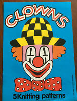 KNITTING PATTERN Clowns 5 Jumper Designs Intarsia Crying Hat Happy Gary Kennedy