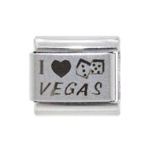 Las Vegas dadi dello smalto fascino ITALIANO-si adatta a 9mm Classic Italian Charm Bracelets