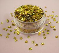 Valentin Nail Art Herzform Spangles Glitzer Holographisch Bling Bling Gold