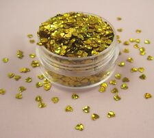 Valentines Nail Art Heart Shape Spangles Glitter Holographic Bling Bling Gold