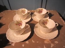 LOT OF 4 COPELAND SPODE EMBOSSED DAISY GRAPE PATTERN CUP & SAUCERS TEA COFFEE