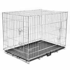 vidaXL Foldable Dog Bench XL Metal Pet Transport Travel Carrier Crate Cage