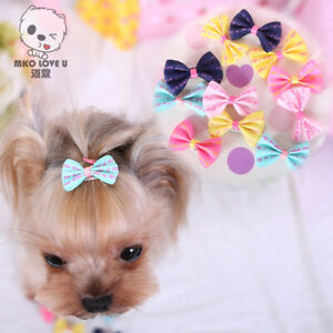 6Pcs Dog  Puppy Hair Clips Hair Bow Tie Flower Hairpin Pet Grooming
