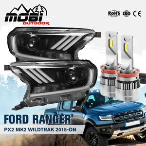 MOBI LED Headlights H11 Halo DRL For Ford Ranger Everest 2015-ON Mustang style