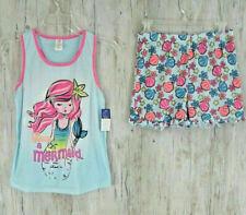Mermaid Sleepwear Set Size 14/16 L Tank Top Shorts  JV Apparel Pink Blue NWOT