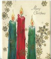 VINTAGE CHRISTMAS RED GREEN BLUE CANDLES GOLD SILVER SNOWFLAKE ART GREETING CARD