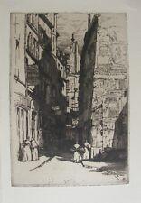 """Herman A. Webster: """"La rue Brise-Miche en 1900"""" - Eau-forte Originale"""