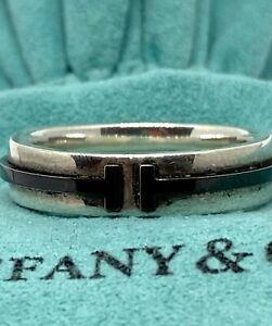 Rare Tiffany & Co T Two Band Ring Titanium Ti 925 Silver Unisex Men Women 9.5