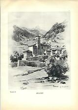 Stampa antica BRANZI in Val Brembana Bergamo Grossi 1936 Old print