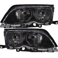 Scheinwerfer Set Satz für BMW 3er E46 Bj. 01-05 schwarz H7/H7+Stellmotoren