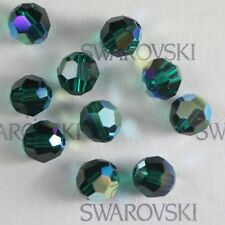 48 pcs Swarovski Element 5000 faceted 5mm Round Ball Beads Crystal Emerald AB