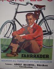 WerbePappe Plakat TORPEDO Fahrrad, Vertretung Adolf Bechtel in Bürchau / Lörrach