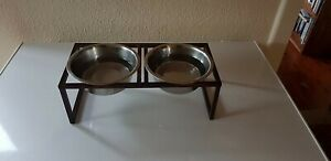Raised Feeding Station for Dogs or Cats Feeder Stand with 2 Stainless Steel Bowl