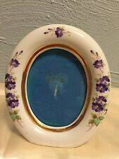 Vintage Lefton Mini Porcelain Frame 03406 Handpainted Purple Flowers 2 7/8 X 2.5