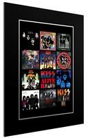 MOUNTED / FRAMED PRINT KISS 12 ALBUM DISCOGRAPHY - 3 SIZES  POSTER GIFT ARTWORK