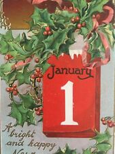 Antique Vintage Post Card Raphael Tuck & Sons New Year Series No 145 Holly Berry