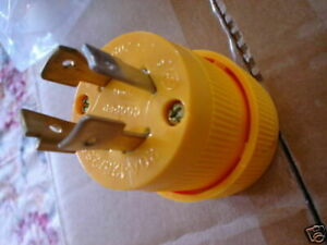L14 20P locking male plug 4 prong 125 250 Volt 20 amp  yellow nylon FREE SHIP