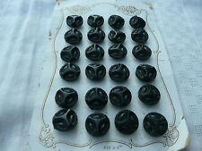 24 boutons anciens jais 1900