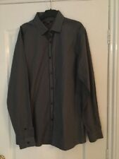 BNWOT MENS  LONG SLEEVED DRESS SHIRT GREY TRIMMED WITH BLACK SZ 16 COLLAR GEORGE