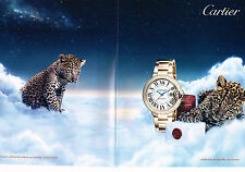 PUBLICITE ADVERTISING 025  2014  CARTIER  collection BALLON BLEU (2 p) montre