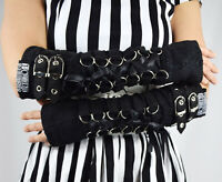 Poizen Industries Goth Punk Grunge Black Lace Up Buckles Orchid Arm warmers