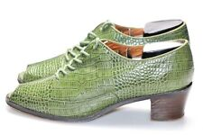 Re-Mix Classic Vintage Snake Print Embossed Shoes 7.5 Green Low Heel Lace Up EUC