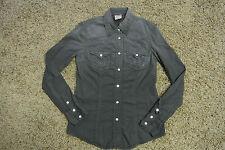 TRUE RELIGION Disco Stretch Shirt S NWOT$178 Swarovski Jewel Buttons! Black!